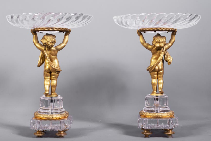Surtout-de-table with putti in gilt bronze and Baccarat crystal-9