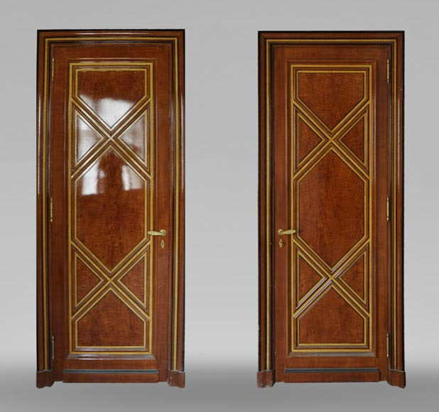 Pair of late 20th century Art Deco style wood trompe l'oeil doors -0