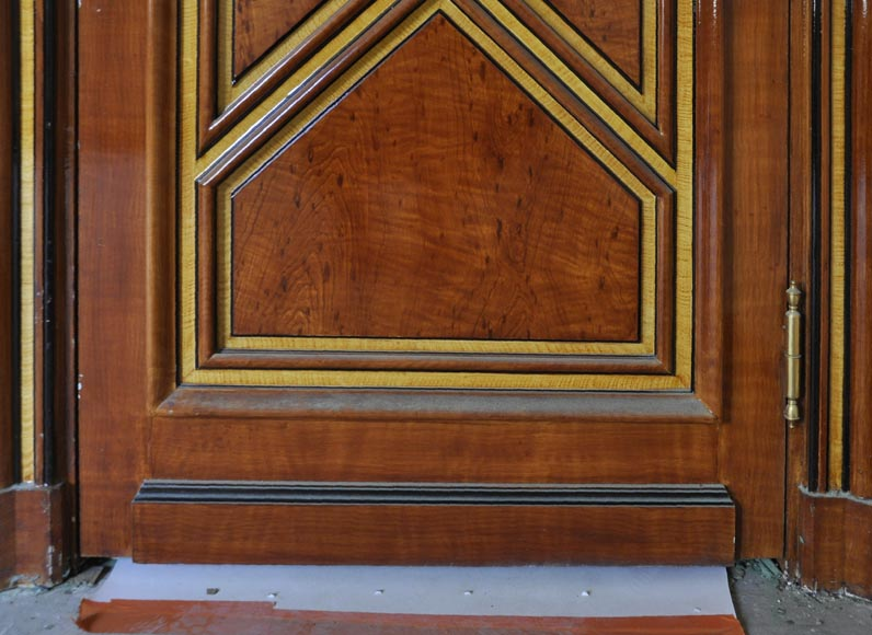 Pair of late 20th century Art Deco style wood trompe l'oeil doors -3