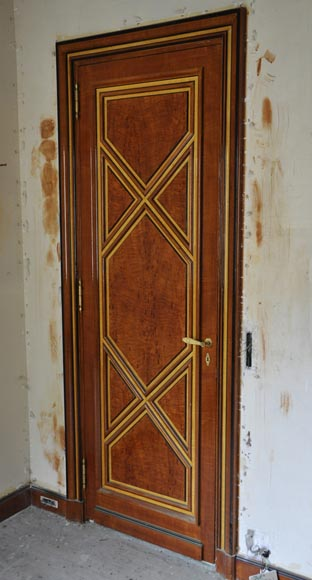 Pair of late 20th century Art Deco style wood trompe l'oeil doors -8