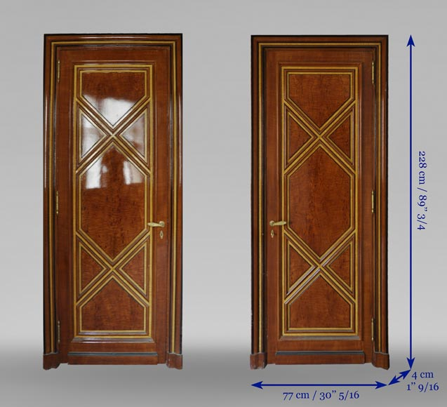 Pair of late 20th century Art Deco style wood trompe l'oeil doors -12