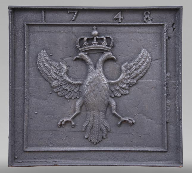 Antique fireback with bicephalous eagle decoration dated 1748-0