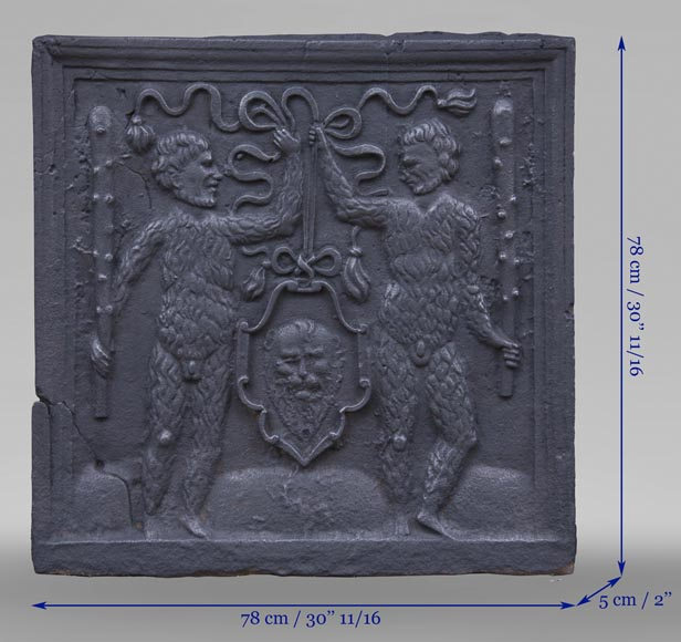 Antique fireback with two savages armed with masses-7