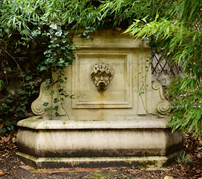 Composite stone wall fountain, late 20th century-0
