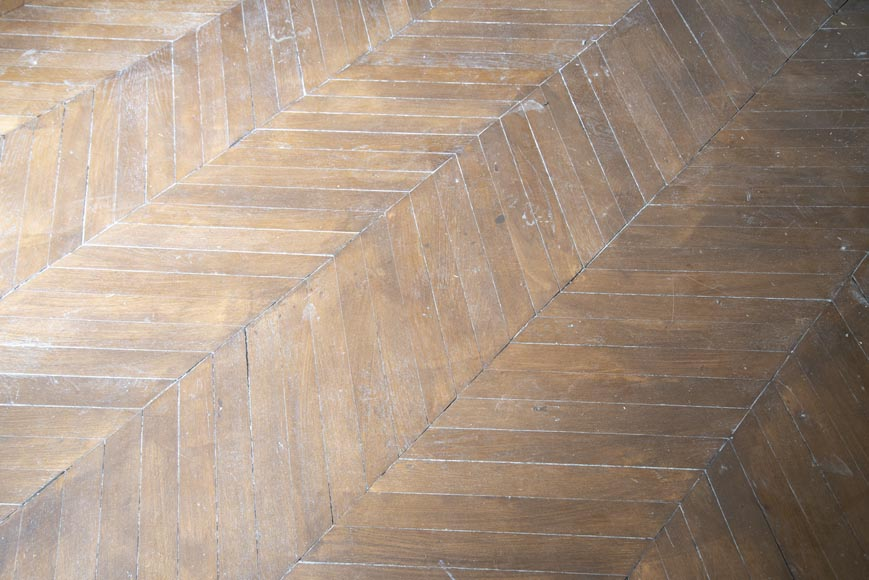 Lot of 14 m2 of Point de Hongrie antique oak parquet flooring-1