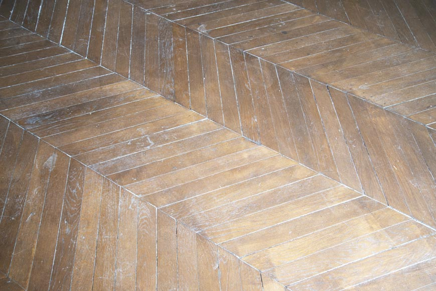 Lot of 14 m2 of Point de Hongrie antique oak parquet flooring-2