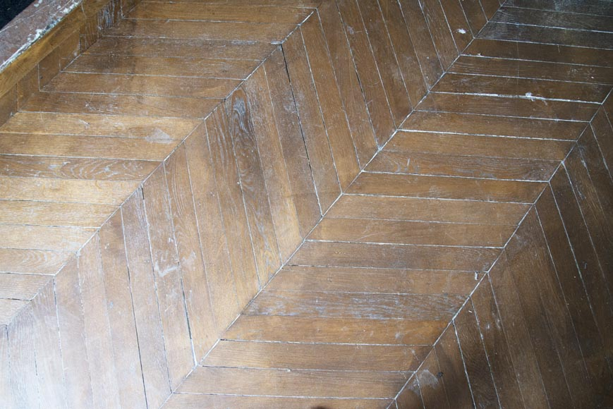 Lot of 14 m2 of Point de Hongrie antique oak parquet flooring-3