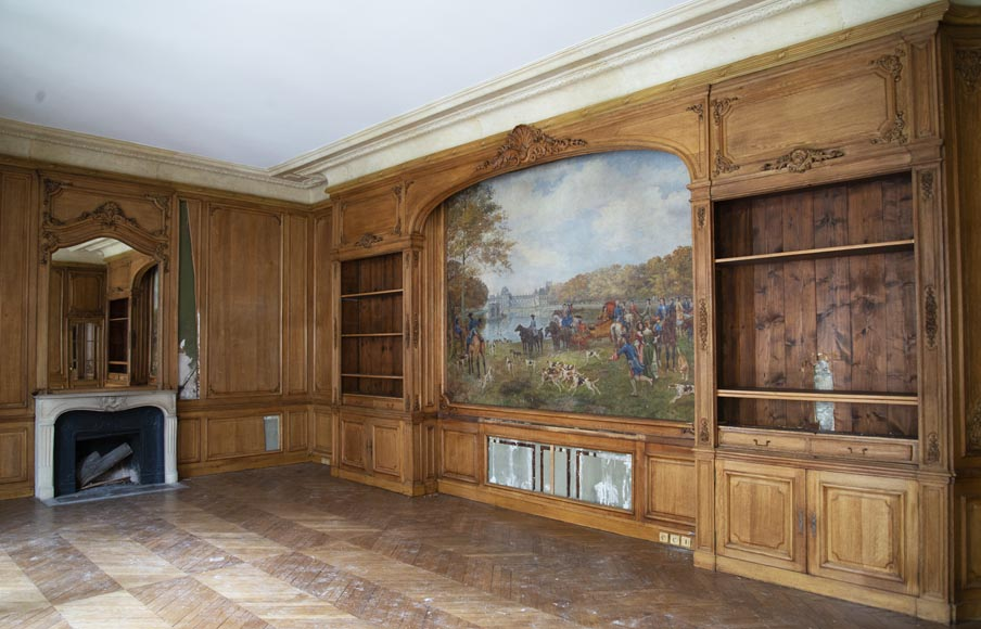 Louis XV oak paneled room with its fireplace and a canvas by Paul Tavernier-0