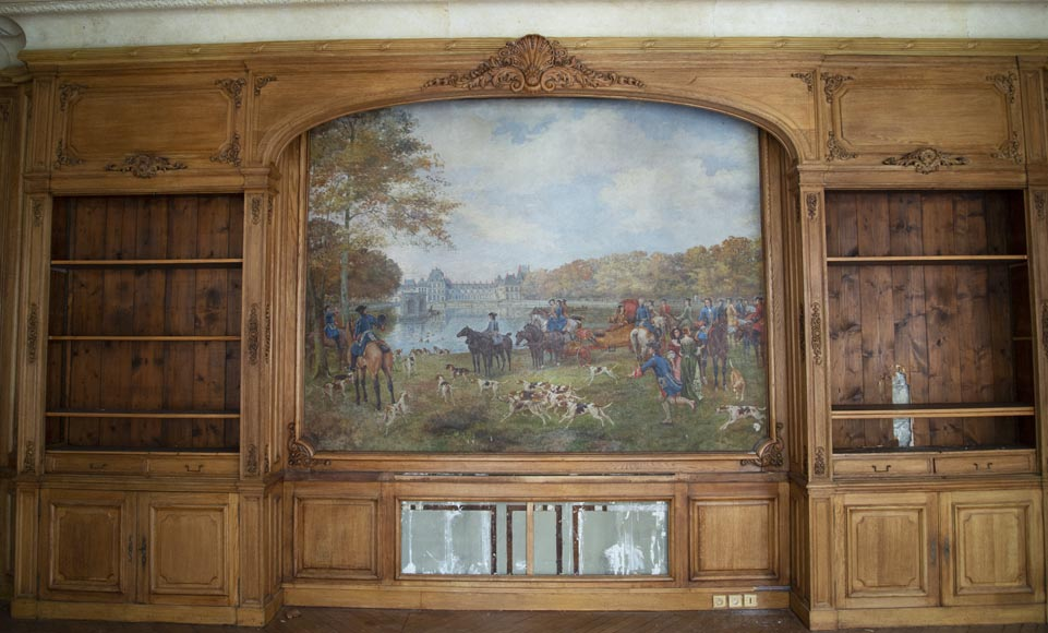 Louis XV oak paneled room with its fireplace and a canvas by Paul Tavernier-2