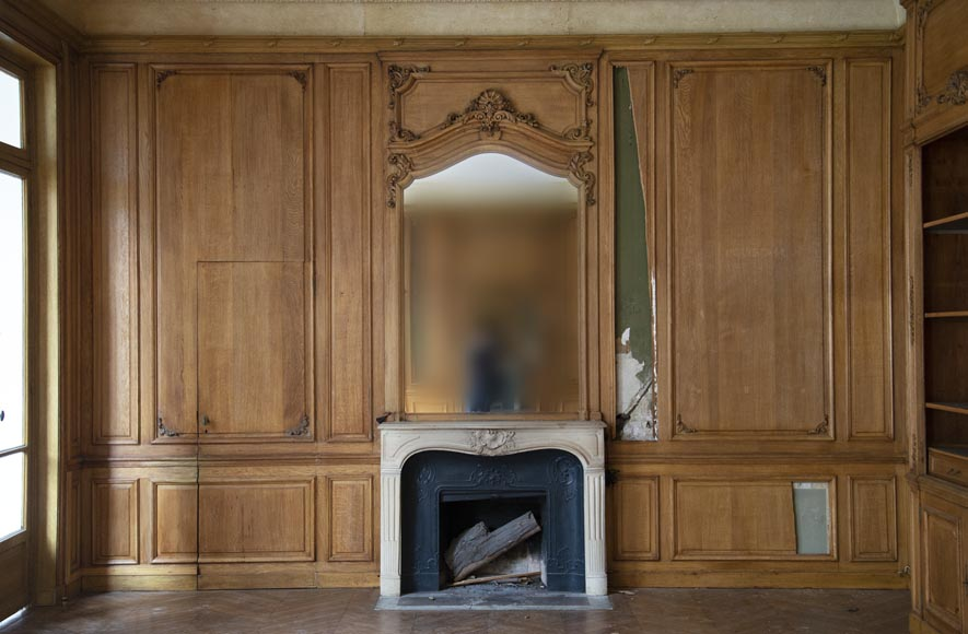 Louis XV oak paneled room with its fireplace and a canvas by Paul Tavernier-8