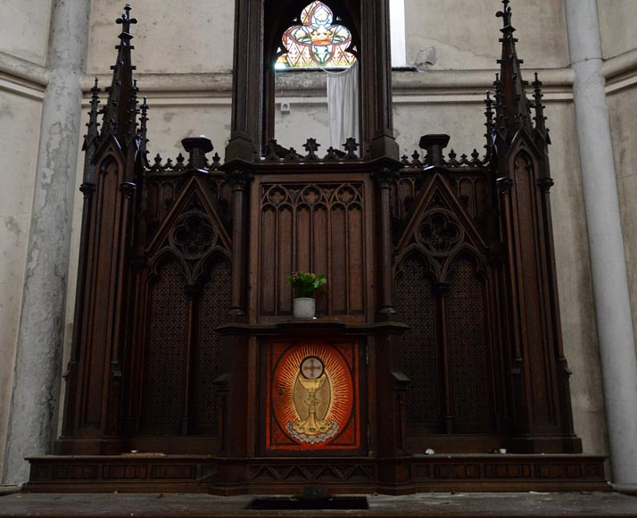 Large church altar and in Neo-Gothic style, made of oak-2