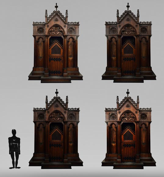 Group of four Neo-Gothic style confessionals in oak-0