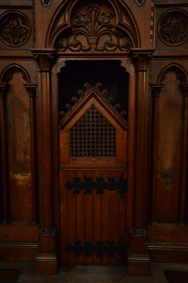 Group of four Neo-Gothic style confessionals in oak-3