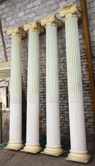 Set of four Ionic columns in painted plaster-1