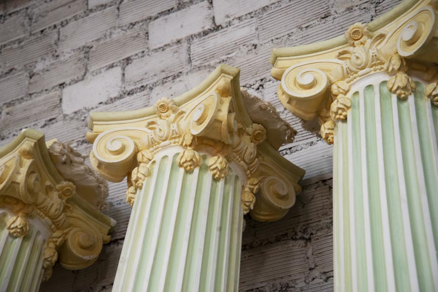 Set of four Ionic columns in painted plaster-3