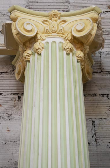 Set of four Ionic columns in painted plaster-4