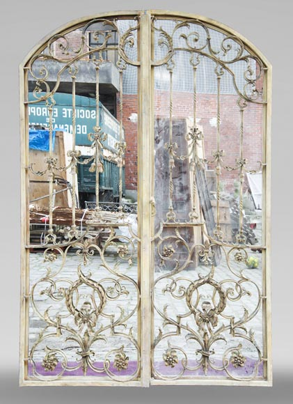 Pair of double-sided wrought iron doors and mirror back-0