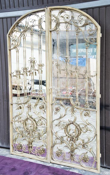 Pair of double-sided wrought iron doors and mirror back-1