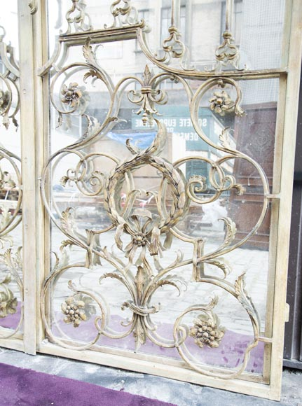 Pair of double-sided wrought iron doors and mirror back-7