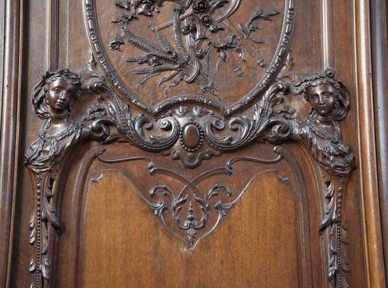 Set of carved oak panelling from the end of the 19th century-3