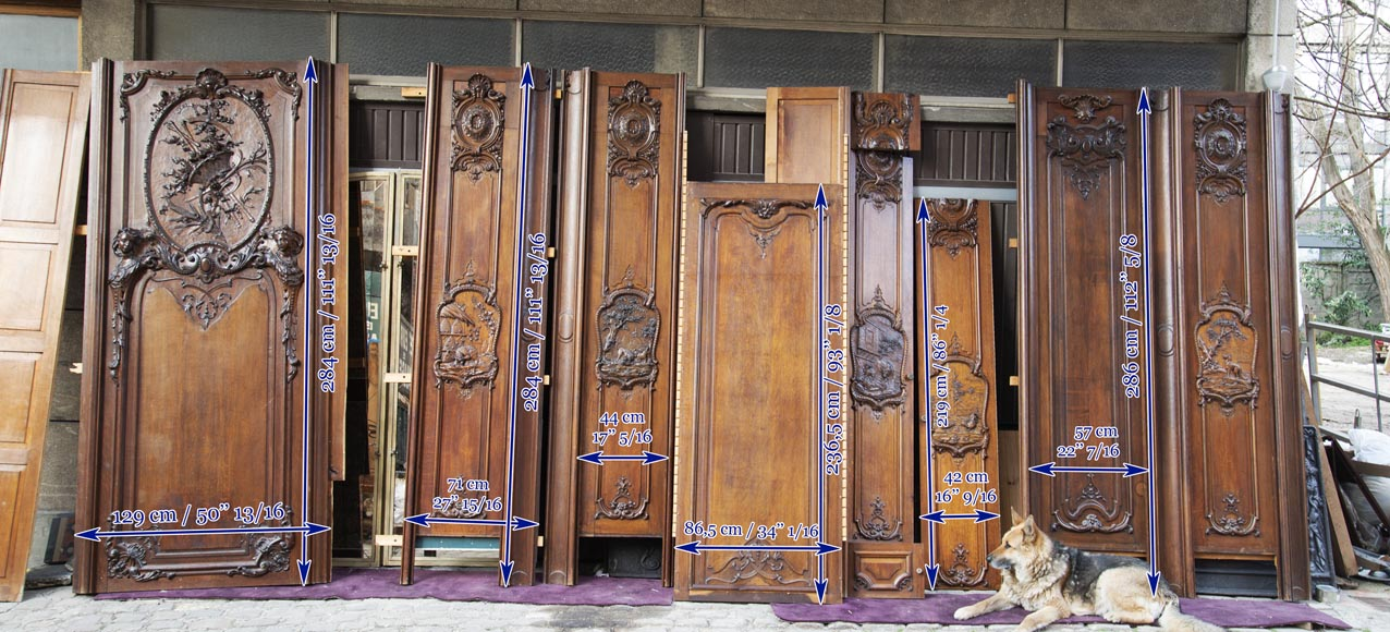 Set of carved oak panelling from the end of the 19th century-20