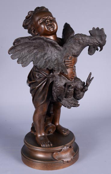 Adriano CECIONI (1836-1886) - The Child with the Rooster, bronze subject with brown patina-1