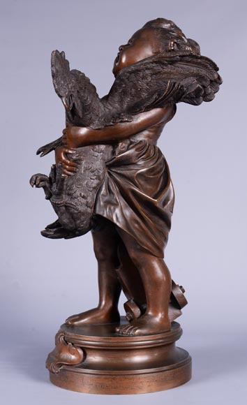 Adriano CECIONI (1836-1886) - The Child with the Rooster, bronze subject with brown patina-2