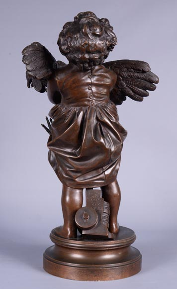 Adriano CECIONI (1836-1886) - The Child with the Rooster, bronze subject with brown patina-3