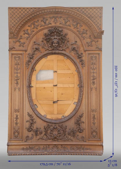 Important carved oak panelling from the 19th century-2