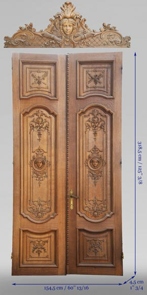 Important carved oak panelling from the 19th century-6