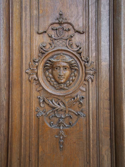 Important carved oak panelling from the 19th century-8
