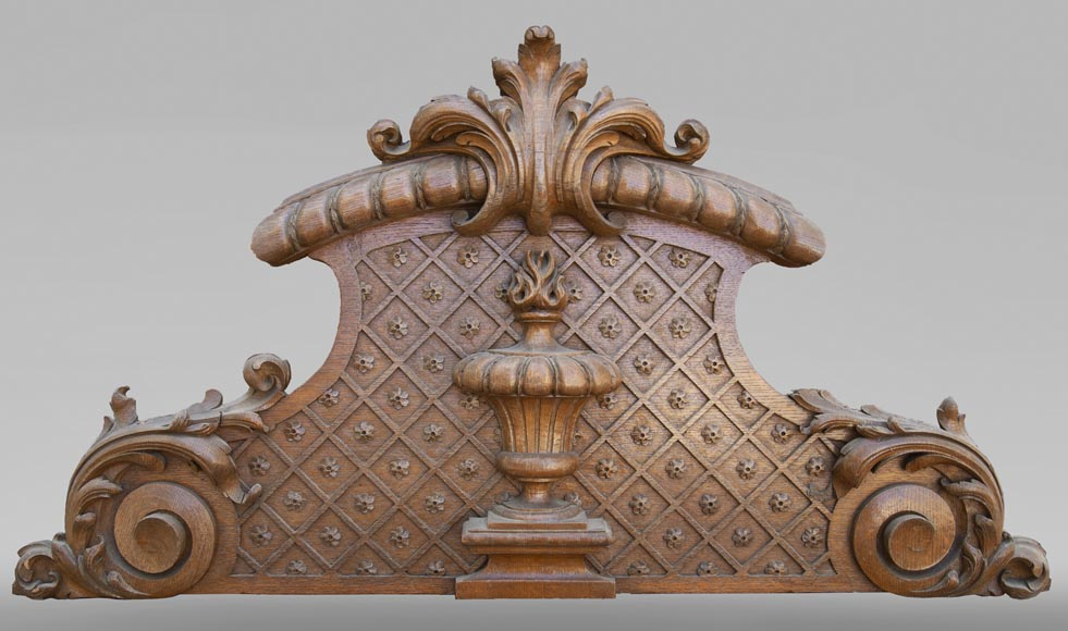Important carved oak panelling from the 19th century-14