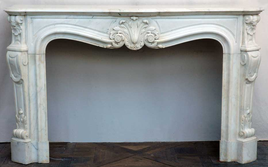 Louis XV style mantel white marble with console jambs - Reference 1231
