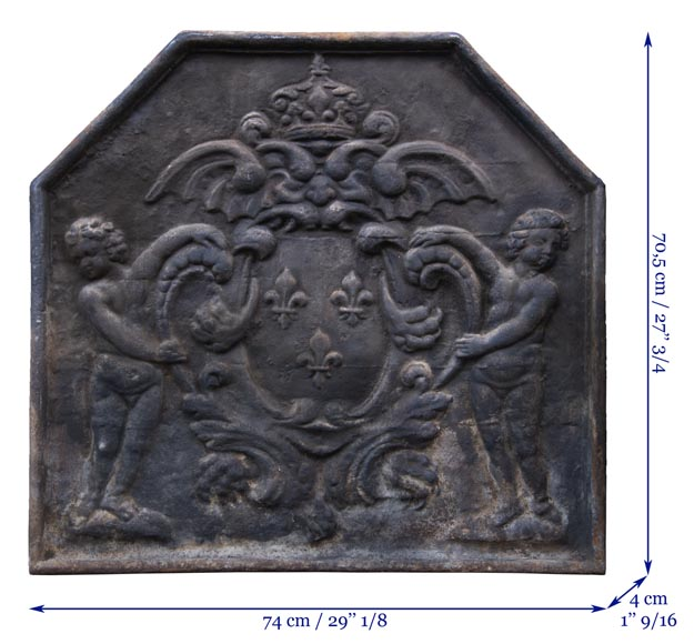 20th century fireback with French coat of arms and putti-7