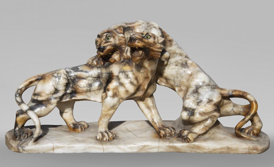 Group in carved veined alabaster representing two panthers-0