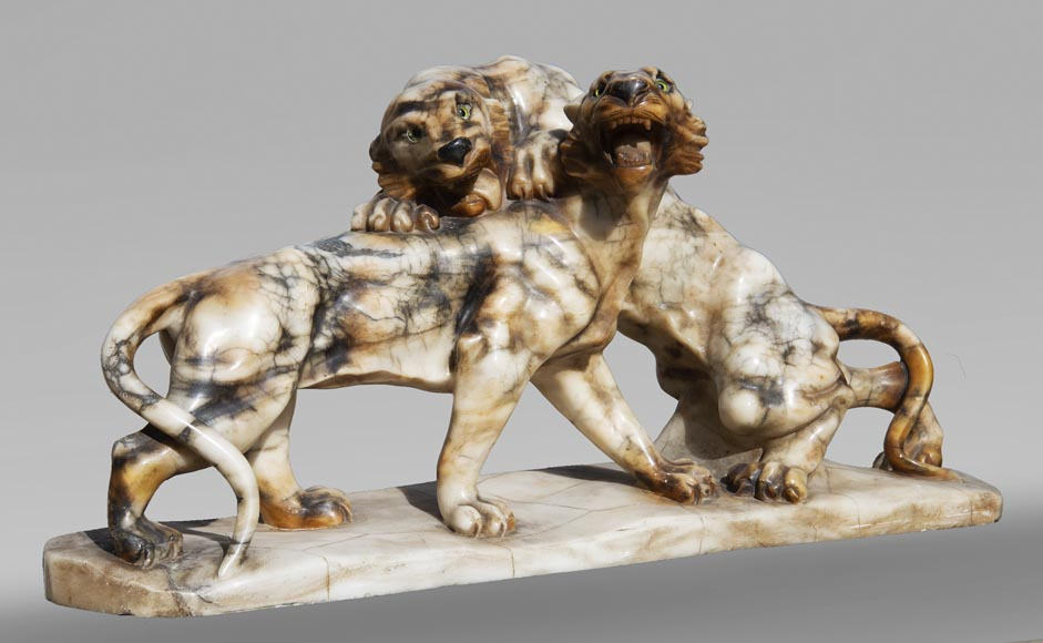 Group in carved veined alabaster representing two panthers-1