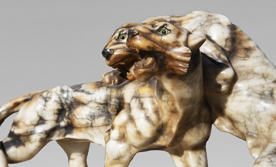 Group in carved veined alabaster representing two panthers-2