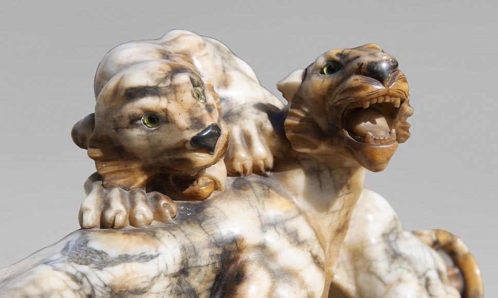Group in carved veined alabaster representing two panthers-3
