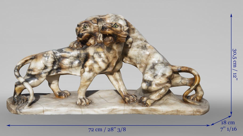 Group in carved veined alabaster representing two panthers-8