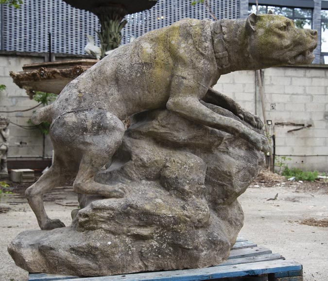Pair of composite stone fighting dog statues-1