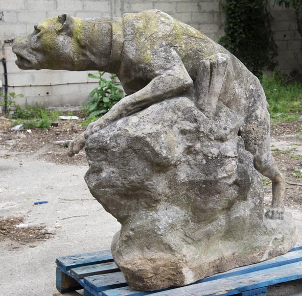 Pair of composite stone fighting dog statues-8