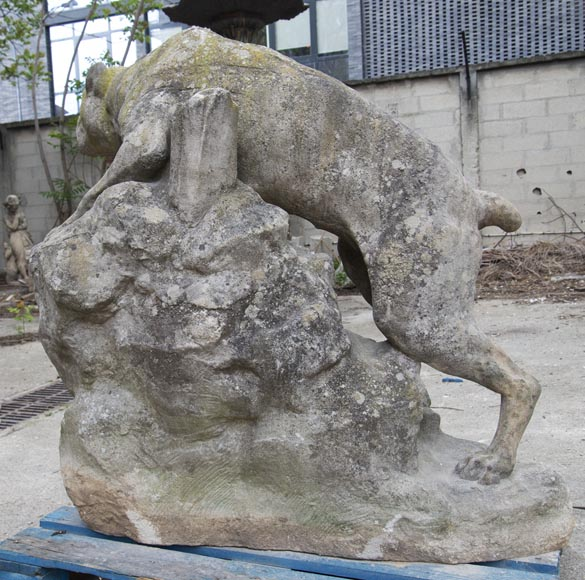 Pair of composite stone fighting dog statues-10