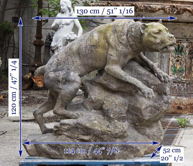 Pair of composite stone fighting dog statues-14
