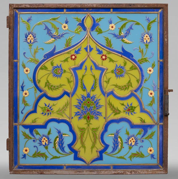 MBERTON - Pair of stained glass windows with Hispano-Moorish decoration-1