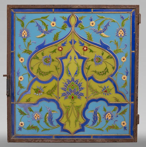 MBERTON - Pair of stained glass windows with Hispano-Moorish decoration-6