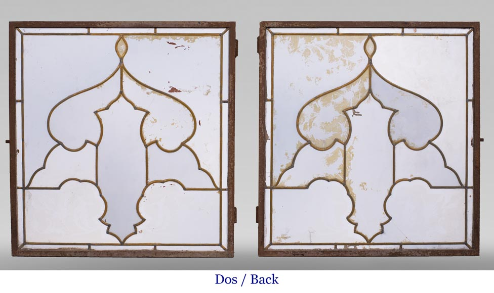 MBERTON - Pair of stained glass windows with Hispano-Moorish decoration-13
