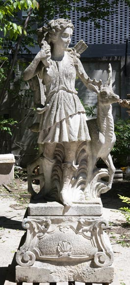Diana the Huntress stone garden statue from Florence-0