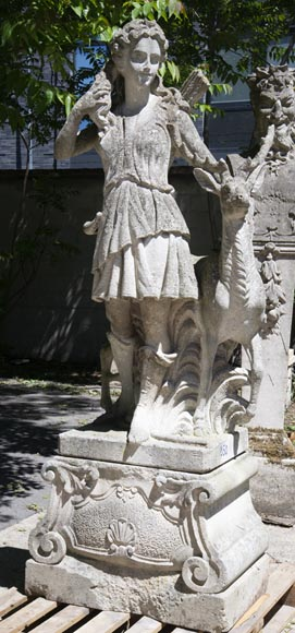 Diana the Huntress stone garden statue from Florence-1