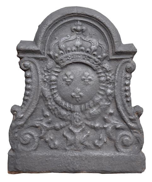 Louis XV period fireback with the coat of arms of France-0