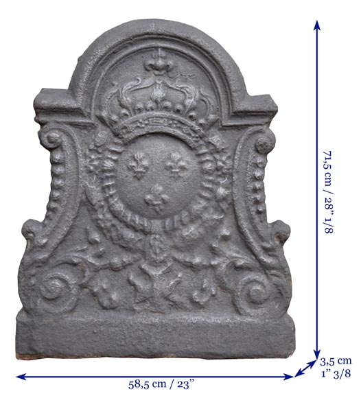 Louis XV period fireback with the coat of arms of France-7